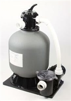 "SPP1000 pond skid pack ES 3500 with EBF 1000 (12"" tank with bio media) mounted on a base with fittings"